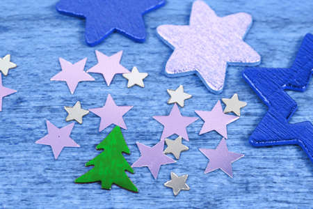 Christmas tree and blue stars ornaments photo