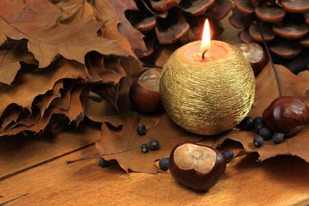 nov: Autumn brown decoration with horse chestnuts candle and dry leaves Stock Photo