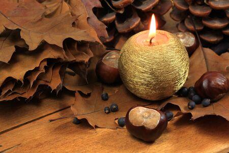 hojas secas: Hojas de oto�o decoraci�n marr�n con vela de casta�as de caballo y seco Foto de archivo