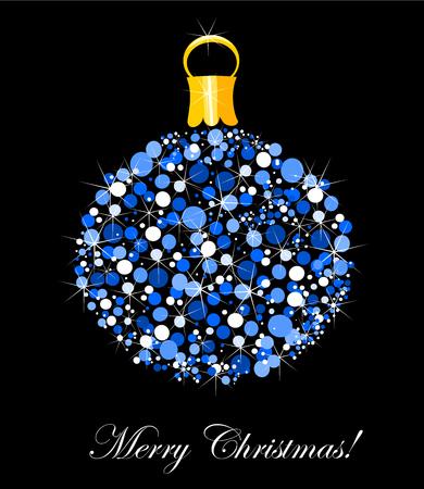 Original blue Christmas ball ornament  Vector