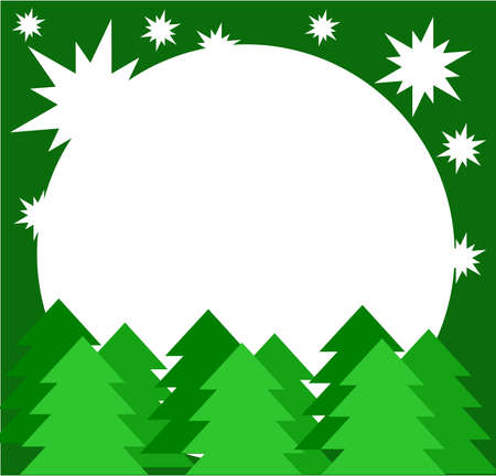 Christmas green card background with spruce trees Vector