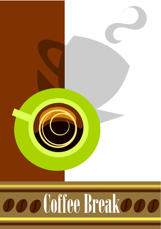 Coffee break background with green cup, shadow and copy space.  Vector