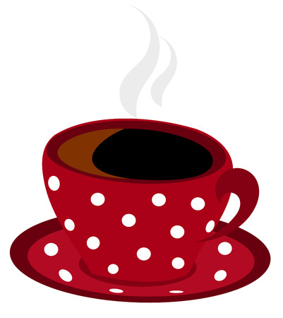 winter break: Red spotted winter steaming cup of coffee isolated