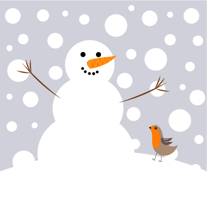 Happy Christmas snowman and robin bird Vector