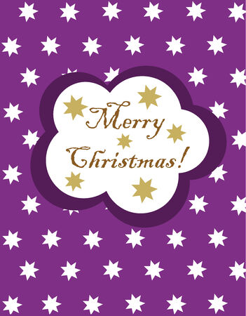 Christmas purple card with white stars. Vector