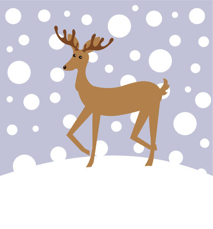 Reindeer in winter landscape. Christmas illustration Stock Vector - 8436491