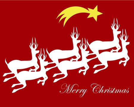 nightly: Runnig white reindeers - Christmas card illustration