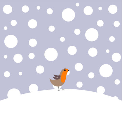 Small robin bird in winter scenery Vector