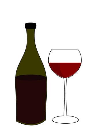 stilllife: Glass of red wine and bottle. Illustration