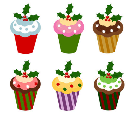 Set of six colorful Christmas cupcakes. illustration Vector
