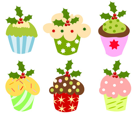 fairycake: Christmas set of sweet cupcakes decorated with holly berry Illustration