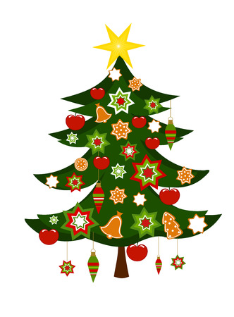 Colorful decorated Christmas tree illustration Vector