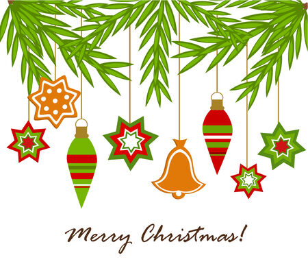 Christmas hanging ornaments from fir branches. background with greetings
