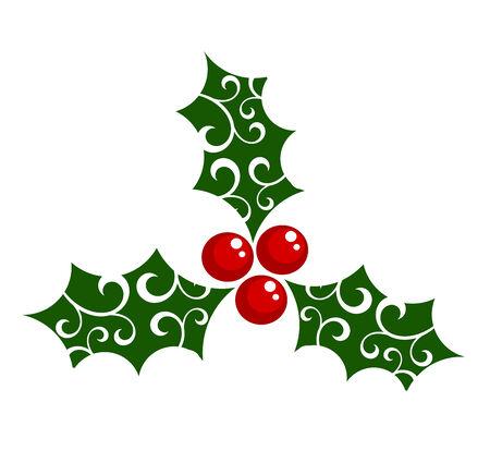 hulst: Holly berry - symbool van Kerstmis.  illustratie Stock Illustratie