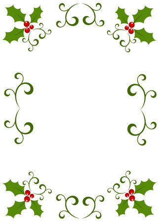 ilex: Christmas vintage frame made of holly berry. illustration Illustration