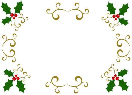 Christmas holly frame