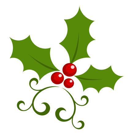 frutos rojos: S�mbolo de baya de acebo de Navidad. Vectores