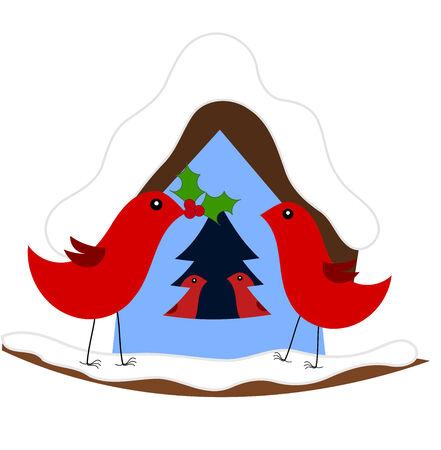 Christmas in red bird family. illustration Vector