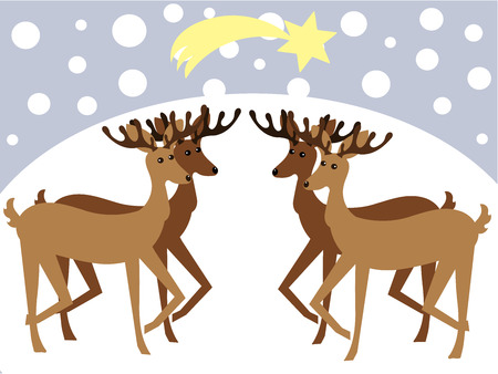 Christmas reideers in winter landscape Vector