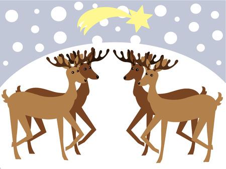 Christmas reideers in winter landscape Vector