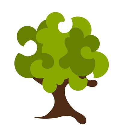 Abstract fantasy green tree illustration Vector