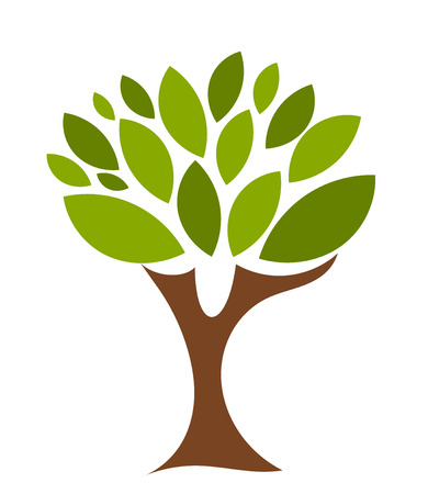tree logo: Symbolic tree with single leaves illustration Illustration