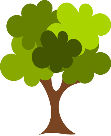 tree illustration: Big green oak tree illustration
