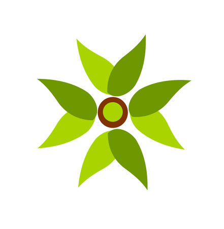 motive: Green plant fan symbol illustration Illustration