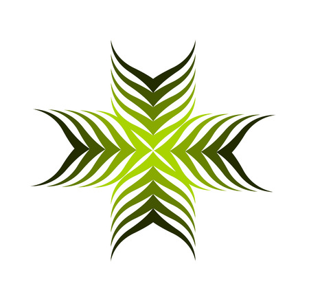 motive: Symbolic green plant motive - cross shaped illustration Illustration