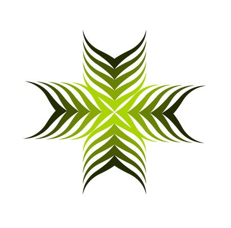 Symbolische groene plant motief - Kruis gevormde illustratie