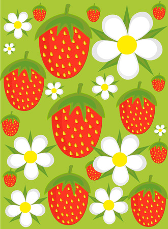 fruity: Strawberries and flowers over green background. illustration
