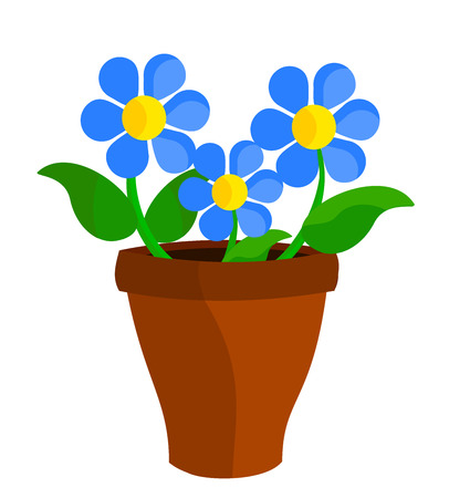 flowers in vase: Three blue flowers in flowerpot