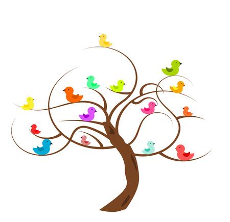 biodiversity: Bald tree with colorful birds. illustration Illustration