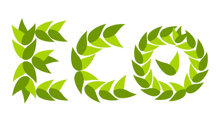 Eco caption project made of green leaves. Business concept Stock Vector - 8556115