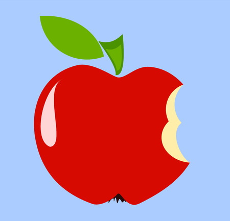 bite: Red biten apple over blue Illustration