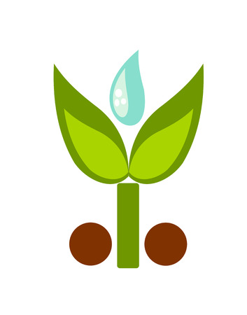 Green symbolic young plant and water drop illustration Stock Vector - 8556108