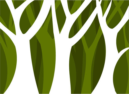 Abstracto bosque lleno de árboles. Ilustración vectorial