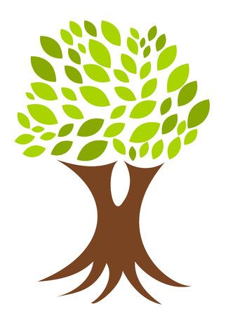 Abstracto árbol verde con sencillo de hojas y raíces Ilustración de vector