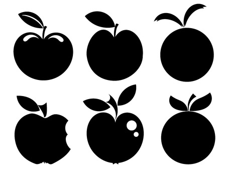 apple symbol: Set of various apple silhouettes icons vector illustration