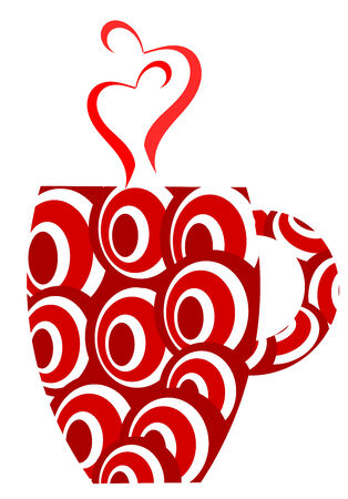 Red mug with stylish pattern and heart shaped steam Vector