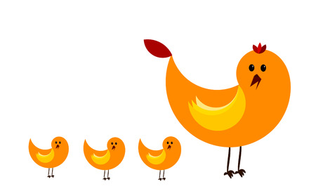 Big hen and three chicks Stock Vector - 8598303