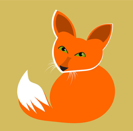 Cute fox with green eyes vector illustration