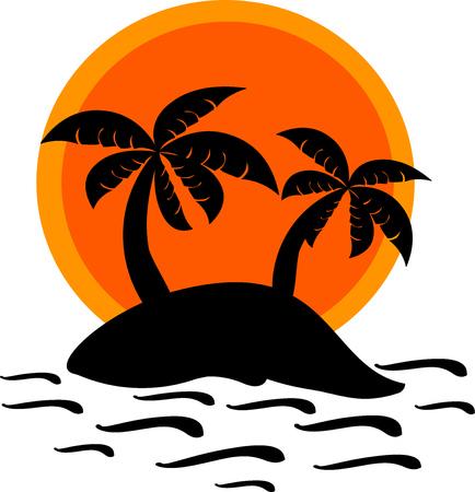Desert island and sunset vector illustration