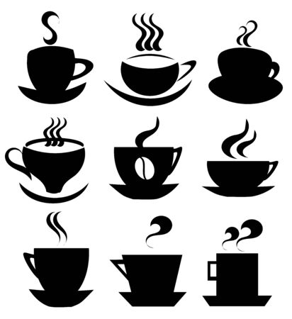 cups silhouette: Collection of isolated coffee cups   icons for design