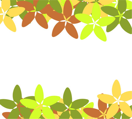 Flower vintage  border - green, brown and yellow