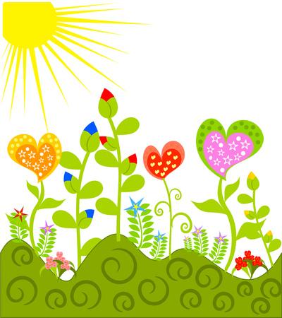 Fantasía hermosa pradera con diversos coloridas flores Vectores