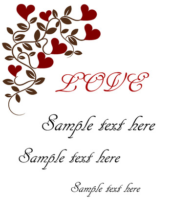 love heart: Vintage love card.  illustration