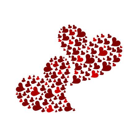 Twee rode harten gemaakt van kleine harten geïsoleerd. illustratie