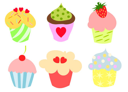 Set of six colorful cupcakes.   illustration Illustration