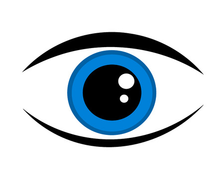 yeux tristes: Ic�ne de le ?il bleu symbolique Illustration